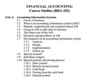 financial accounting code 182 bba aiou course outlines