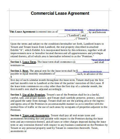 commercial lease agreement in word commercial lease agreement template 9 free word pdf