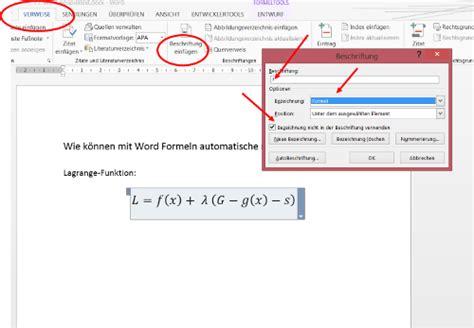 Beschriftung Neben Bild Word word formeln automatisch nummerieren chip