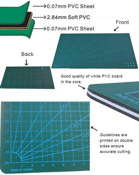 Mat Level 3 by 60x 45cm A2 Non Slip Printed Grid Lines Self Healing