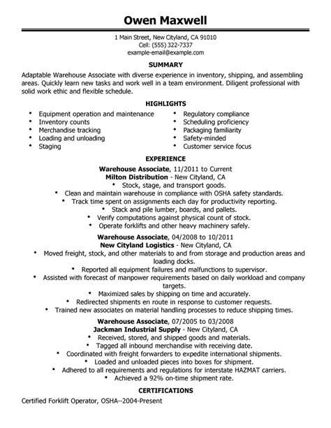 Warehouse Resume Objective by Warehouse Resume Objective Sles For Worker Executive Summary Template Home Design Idea