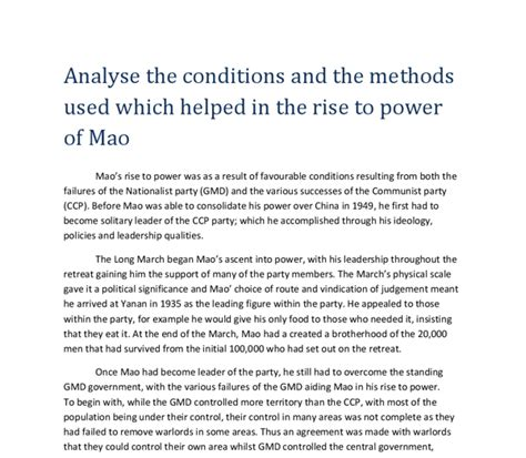 access to history maos analyse the conditions and the methods used which helped in the rise to power of mao