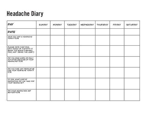 printable migraine journal migraine diary template headache diary pictures to pin on