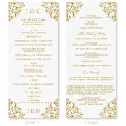 wedding program template instant download edit by