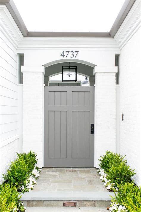Exterior Shiplap Gray Front Door Transitional Porch Benjamin