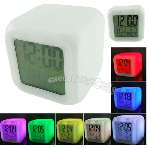 led color change glowing digital alarm clock temperature thermometer calendar ebay