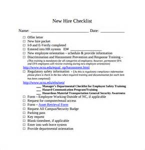 New Hire Business Template by Sle New Hire Checklist Template 11 Documents In Pdf