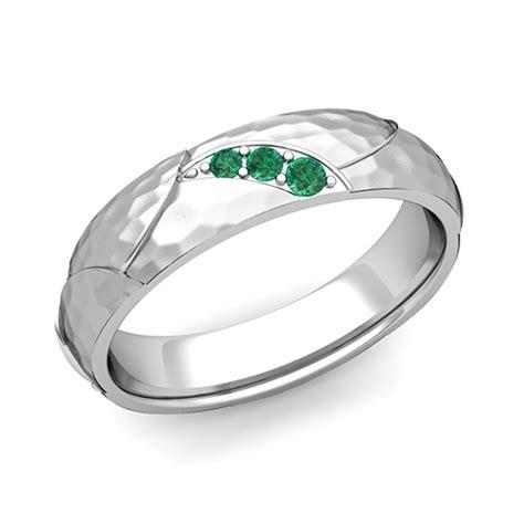 3 emerald anniversary ring in platinum hammered