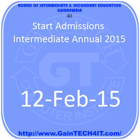 bisegrw news room start admissions intermediate annual 2015 gaintech4it bise gujranwala board matric model