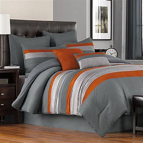 orange and gray bedding livingston 6 8 piece comforter set master bedroom ideas