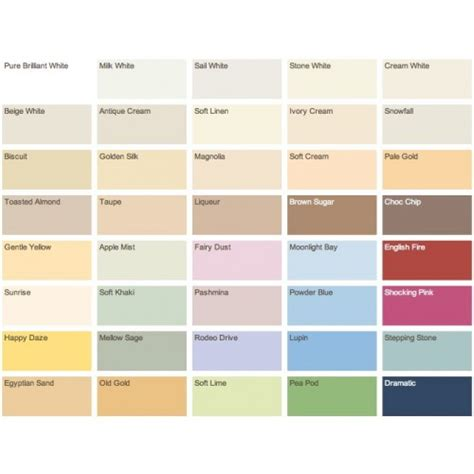 12 types crown paint colour charts