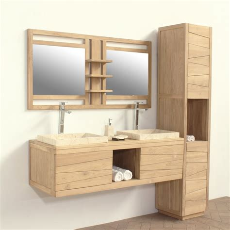 agréable Meuble De Jardin En Teck #7: meubles-salle-bains-suspendu-bois-teck_1.jpg
