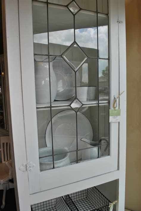 Glass Door Cabinet Kitchen White Leaded Glass Cabinet Sobo Style Window Pane Cabinets Glass Cabinets