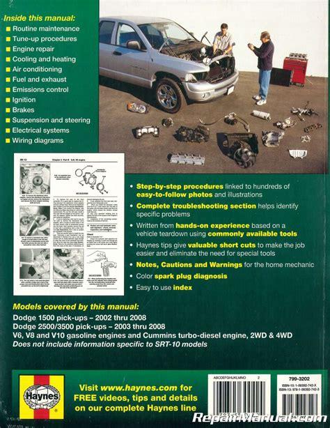 small engine service manuals 2008 dodge ram 1500 instrument cluster 2002 2008 dodge ram 1500 2500 3500 pickup truck haynes repair manual