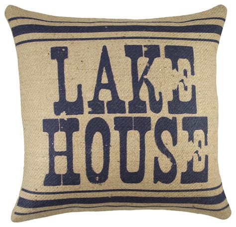lake house pillows quot lake house quot burlap pillow navy traditional decorative pillows by thewatsonshop