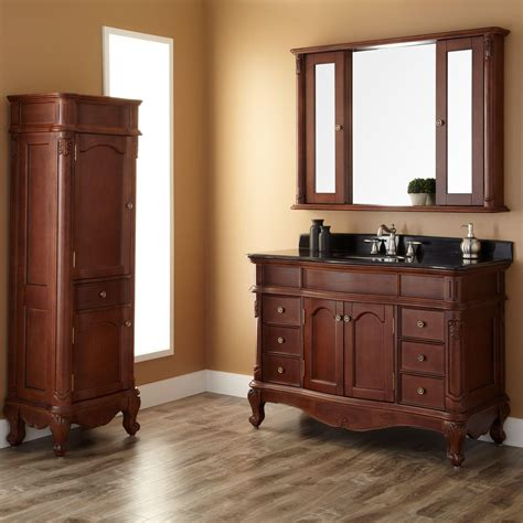 Bathroom Vanity With Linen Cabinet 48 Quot Sedwick Brown Cherry Vanity Bathroom