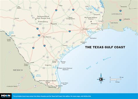 texas coast map printable travel maps of texas moon travel guides