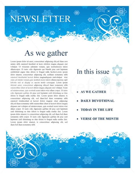 winter church newsletter template newsletter templates