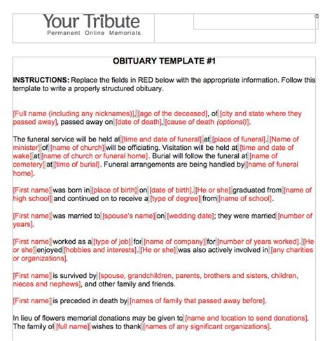 obituary template 25 obituary templates and sles ᐅ template lab