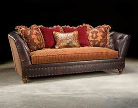 Fabric Leather Sofa Fabric And Leather Tufted Sofa