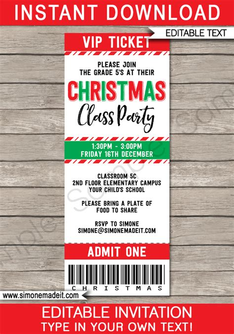 printable tickets for christmas party christmas party ticket invitations template christmas
