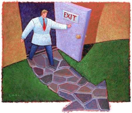 Walk Out The Door by Stock Illustration Doctor Exiting Door