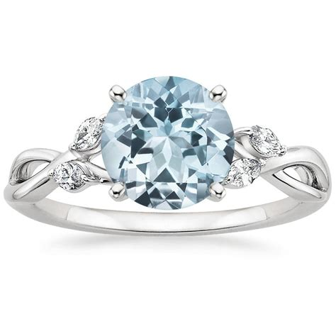 Aquamarine Engagement Rings by Aquamarine Willow Ring 1 8 Ct Tw In 18k White Gold