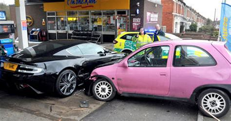 vauxhall pink aston martin dbs written off after being hit by pink