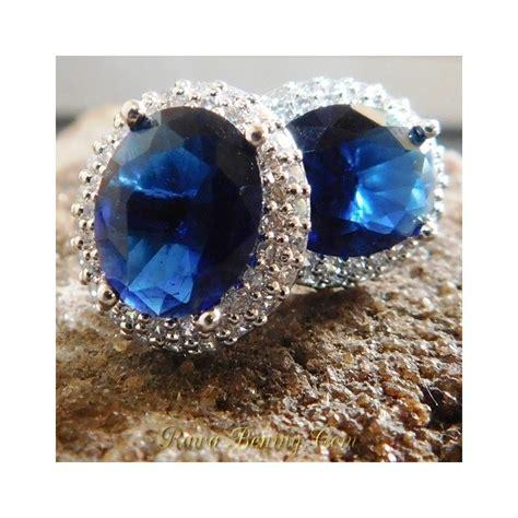 jual anting wanita gold filled 18k oval cut biru elegan