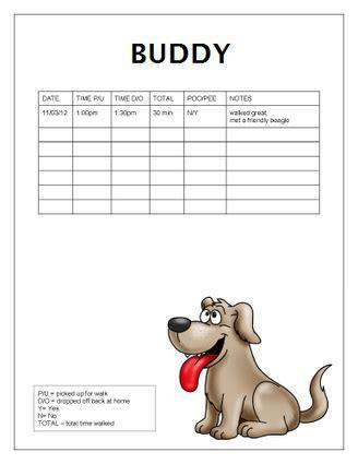 free dog walking log templates office templat