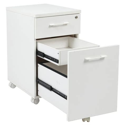 Office Star Prado L Shape W Mobile Filing Cabinet White White Desk With File Cabinet
