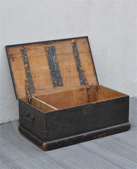 antique black small pine blanket box linen chest coffee