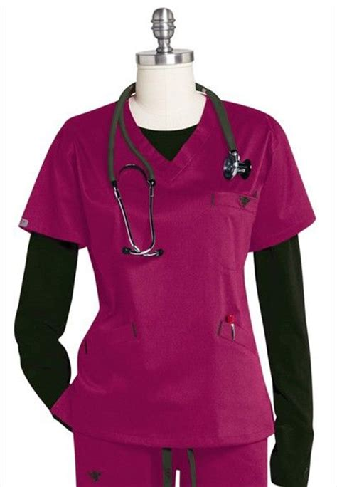 wine colored scrubs medcouture by ez flex sport neckline scrub top