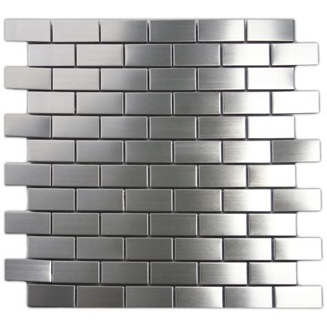 kitchen backsplash stainless steel tiles stainless steel mosaic tile 1x2 for backsplashes showers more sle ebay