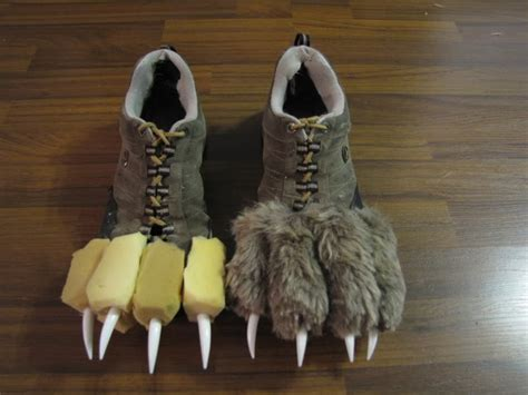 werewolf costume tutorial use an old pair of shoes some yellow foam from a craft