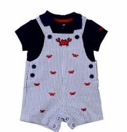 Little me baby boys crab shortall set