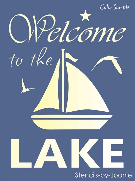 Primitive Country Home Decor Stencil Welcome Lake Sail Boat Seagull Ocean Lake House