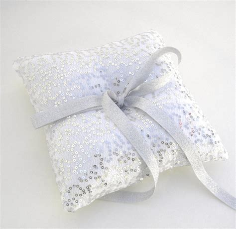 Rings For Ring Bearer Pillow by Silver Sequin Ring Bearer Pillow Silver Ring Bearer Pillow