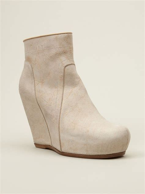 rick owens platform wedge boots in white lyst