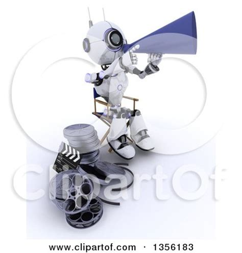 robot film director name clipart of a 3d futuristic robot movie director using a