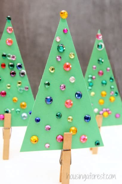 jeweled trees simple christmas tree craft for kids