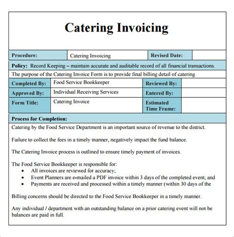 templates for catering invoices catering invoice template 10 free download documents in pdf