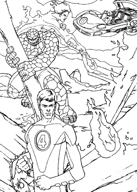 fantastic four in action coloring pages hellokids com