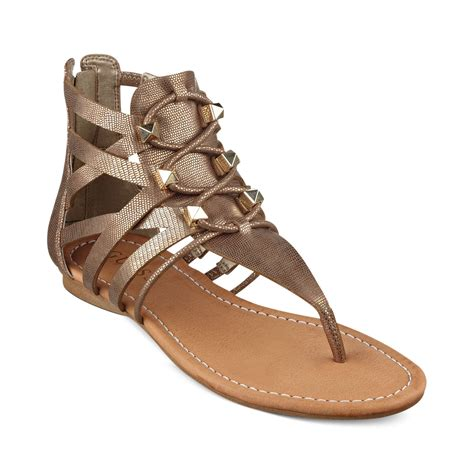 sandals guess guess glando gladiator flat sandals in gold lyst