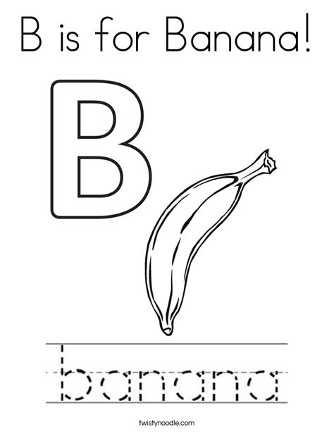 b is for banana coloring page twisty noodle