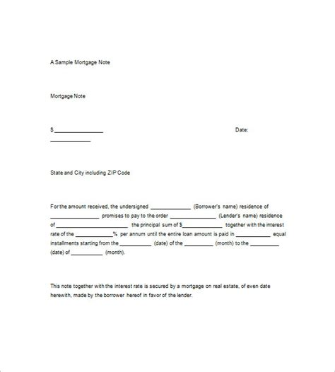 promisorry note template 9 mortgage promissory note free sle exle format