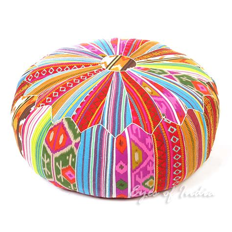 colorful ottomans large colorful kali round pouf ottoman cover 24 x 16
