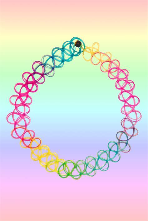 Rainbow Choker Choker top rainbow loom choker images for tattoos