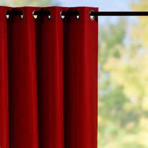Red Drapes With Grommets Grommet Top Semi Opaque Outdoor Curtain Panels Red