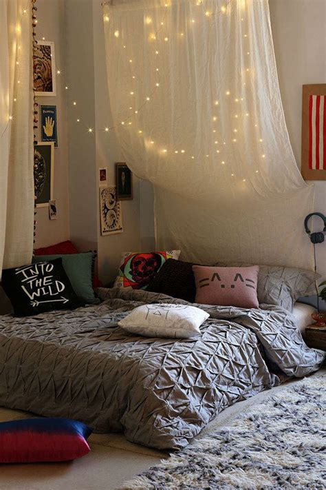 How To Hang String Lights In Bedroom Hang String Room Bed Lights